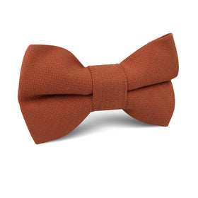 Burnt Terracotta Orange Linen Kids Bow Tie