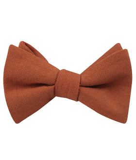 Burnt Terracotta Orange Linen Self Bow Tie