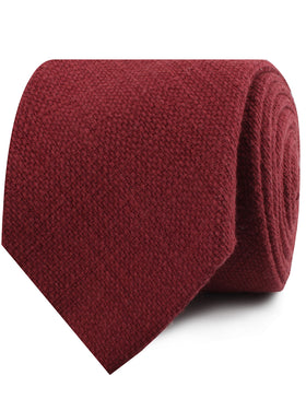 Burnt Burgundy Basket Weave Linen Necktie