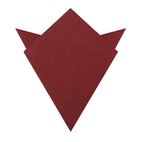 Burnt Burgundy Basket Weave Linen Pocket Square