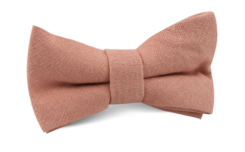 Burnt Coral Sunset Pink Chenille Linen Bow Tie