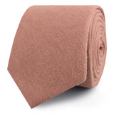 Burnt Coral Sunset Pink Chenille Linen Skinny Ties