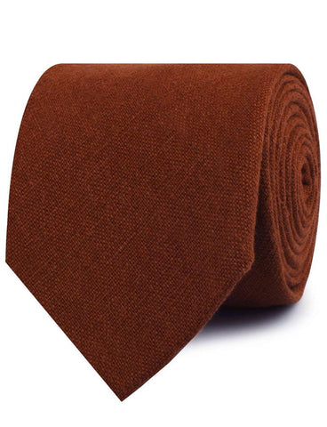 Burnt Golden Brown Linen Necktie