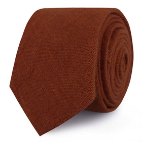 Burnt Golden Brown Linen Skinny Tie