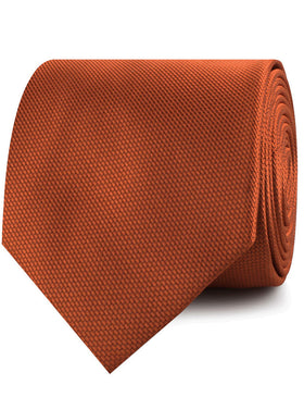 Burnt Orange Rust Weave Necktie