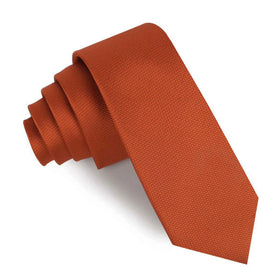 Burnt Orange Rust Weave Skinny Tie