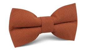 Burnt Terracotta Orange Linen Bow Tie