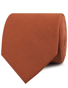 Burnt Terracotta Orange Linen Necktie