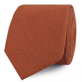 Burnt Terracotta Orange Linen Skinny Tie