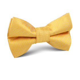 Butterscotch Yellow Herringbone Chevron Kids Bow Tie