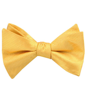 Butterscotch Yellow Herringbone Chevron Self Bow Tie