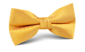 Butterscotch Yellow Herringbone Chevron Bow Tie