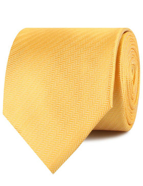 Butterscotch Yellow Herringbone Chevron Necktie