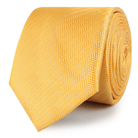 Butterscotch Yellow Herringbone Chevron Skinny Tie