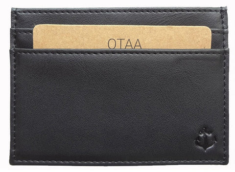 Black Grained-Leather Cardholder Wallet