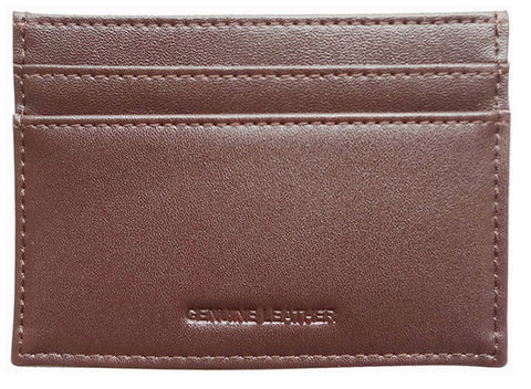 Cocoa Grained-Leather Cardholder Wallet