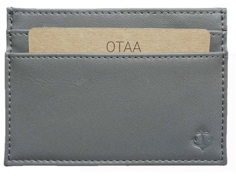 Gray Grained-Leather Cardholder Wallet