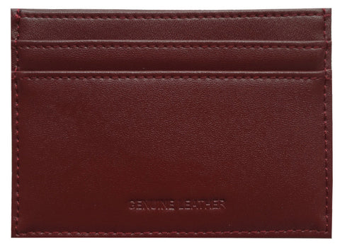 Cognac Grained-Leather Cardholder Wallet