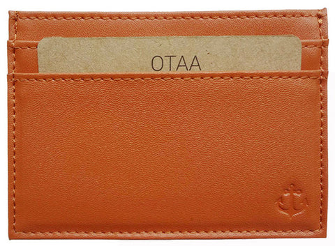 Tan Grained-Leather Cardholder Wallet