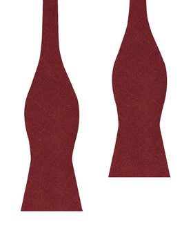 Cabernet Burgundy Linen Self Bow Tie