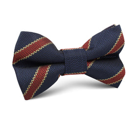Cambridge Navy Blue with Royal Red Stripes Kids Bow Tie