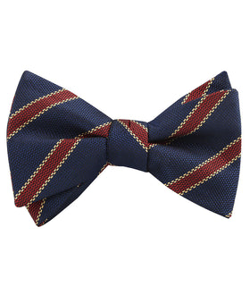 Cambridge Navy Blue with Royal Red Stripes Self Bow Tie