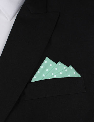 Cambridge Blue Cotton with Mini White Polka Dots Pocket Square