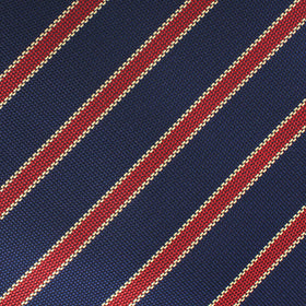 Cambridge Navy Blue with Royal Red Stripes Pocket Square