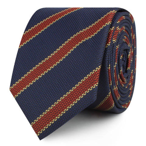 Cambridge Navy Blue with Royal Red Stripes Skinny Tie
