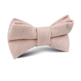 Cameo Beige Pink Chenille Linen Kids Bow Tie