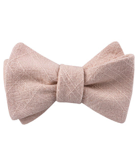 Cameo Beige Pink Chenille Linen Self Bow Tie