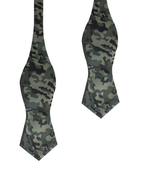 Camouflage Army Green Diamond Self Bow Tie