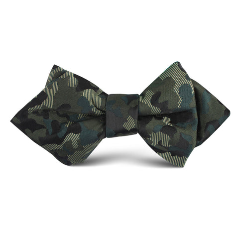 Camouflage Army Green Kids Diamond Bow Tie