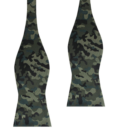 Camouflage Army Green Self Bow Tie