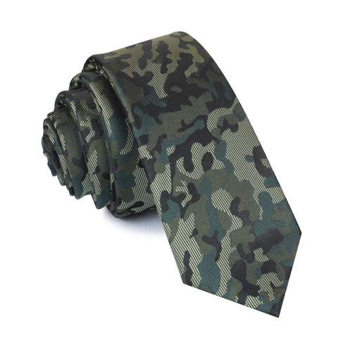 Camouflage Army Green Skinny Tie