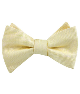 Canary Blush Yellow Weave Self Bow Tie