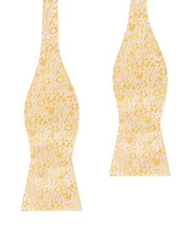 Canary Yellow Floral Fields Self Bow Tie