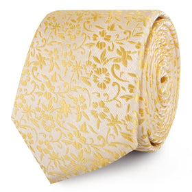 Canary Yellow Floral Fields Skinny Tie