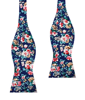 Cancún Blue Floral Self Bow Tie