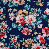 Cancún Blue Floral Skinny Tie Fabric