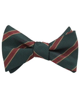 Canterbury Green with Royal Red Stripes Self Bow Tie