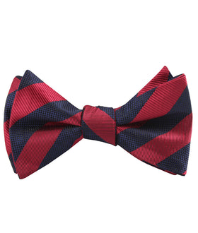 Canterbury Red & Navy Blue Striped Self Bow Tie
