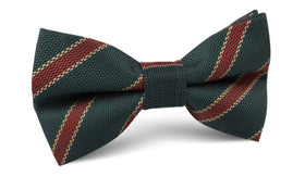 Canterbury Green with Royal Red Stripes Bow Tie
