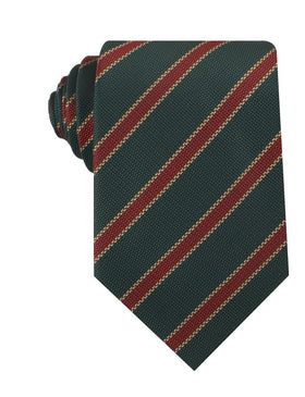 Canterbury Green with Royal Red Stripes Necktie
