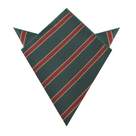 Canterbury Green with Royal Red Stripes Pocket Square