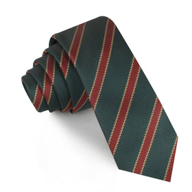 Canterbury Green with Royal Red Stripes Skinny Tie