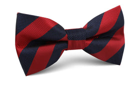 Canterbury Red & Navy Blue Striped Bow Tie