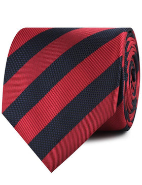 Canterbury Red & Navy Blue Striped Necktie