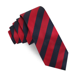 Canterbury Red & Navy Blue Striped Skinny Tie
