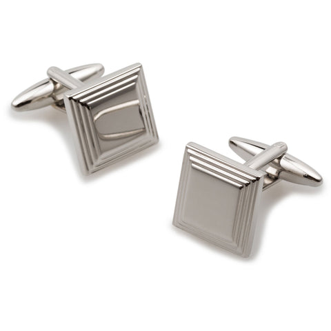 Cape Fear Silver Square Cufflinks